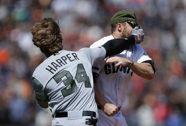 Hunter Strickland suspended six games, Bryce Harper four after bench-clearing brawl