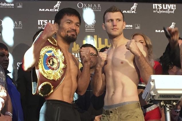 Manny Pacquiao, Jeff Horn make weight, all set for title match in Brisbane