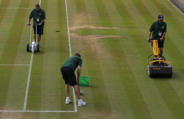 Every morning, greenskeepers mow, paint, mop Wimbledon's grass courts