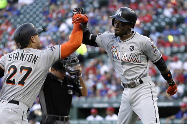 Miami Marlins batters heat up with franchise-record 22 runs in romp over Texas Rangers