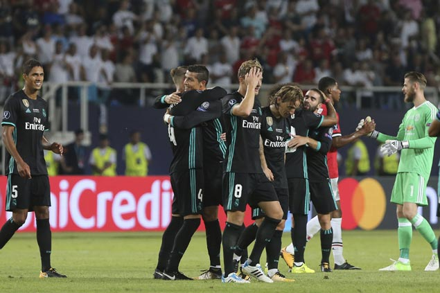 Real Madrid downs Manchester United to capture second consecutive Super Cup title