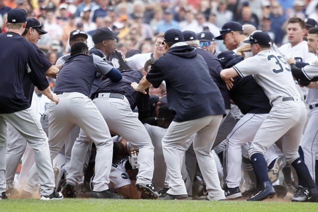Basebrawl in Detroit with eight tossed in three separate scuffles as Tigers maul Yankees