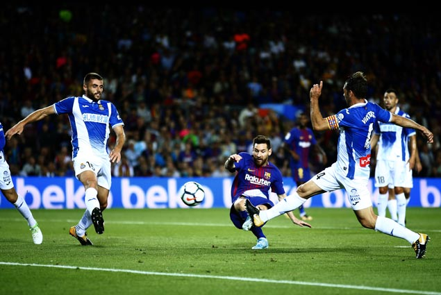 Lionel Messi nets hat trick, Ousmane Dembele has assist in debut as Barca routs Espanyol