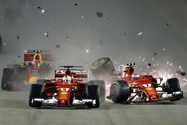 Start line crash mars Singapore GP and Vettel's recklessness plays straight into Hamilton's hands