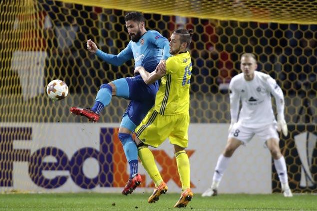Olivier Giroud nets 100th goal for Arsenal in romp over BATE Borisov in Europa League