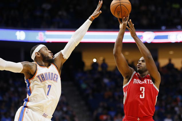 Rockets down Westbrook-less Thunder to spoil preseason debuts of Carmelo Anthony, Paul George