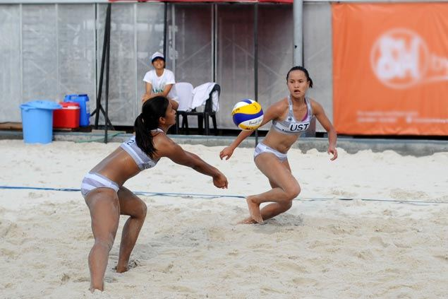 UST's Rondina and Viray, FEU's Pons and Atienza score big opening-day wins in UAAP beach volley