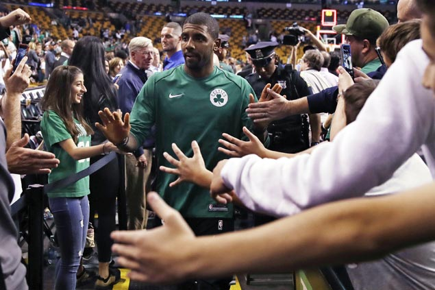 Boston new guy Kyrie Irving excited to be playing in 'a real, live sports city' after Cleveland stint