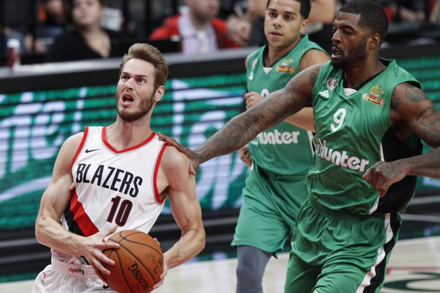 Jake Layman shows way as Blazers missing Lillard and McCollum rip Maccabi Haifa