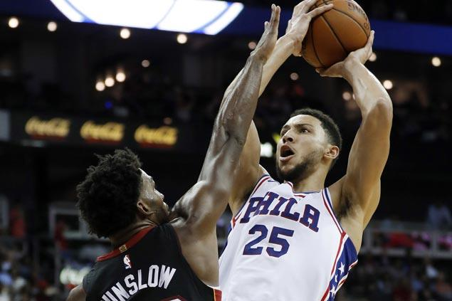 Ben Simmons, JJ Redick lead hot-shooting Sixers in cooling down Heat for winning end to preseason