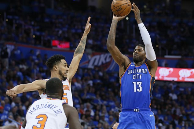 Anthony, George reap benefits of playing with triple-double machine Westbrook in OKC debut
