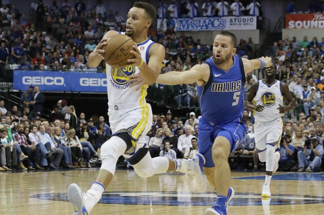 Steph Curry, Kevin Durant, Klay Thompson combine for 75 as Warriors rip winless Mavs