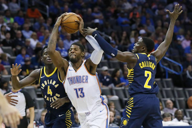 Westbrook posts triple-double, Paul George struggles and fouls out as Thunder rip Pacers