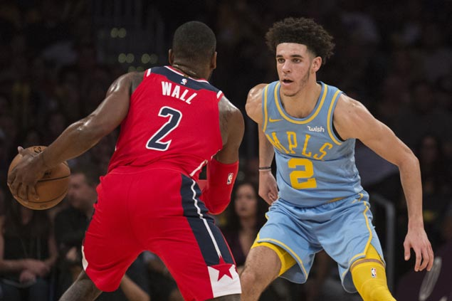 Misfiring Lonzo Ball has last laugh vs Wall as Lakers prove steady in OT, deals Wizards first loss