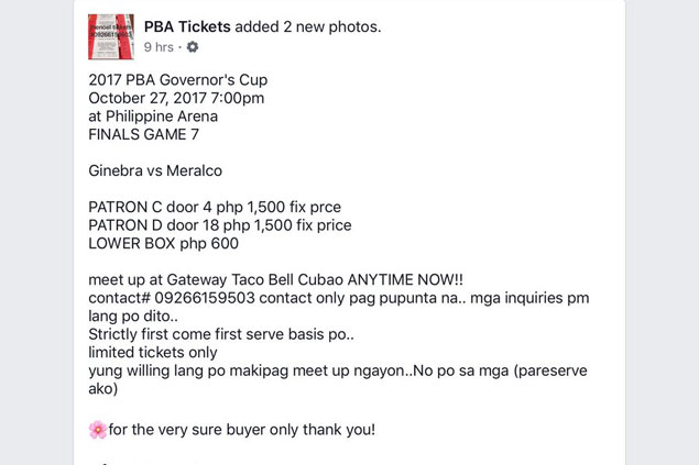 LOOK: Scalpers take trade to Facebook, peddle Game 7 tickets at thrice the original price