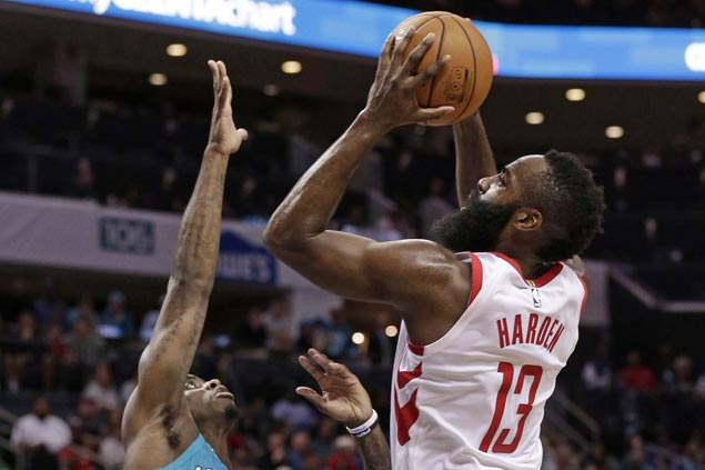 James Harden posts triple double, Rockets hit 22 triples in rout of Hornets