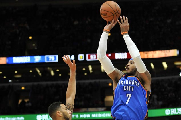 Carmelo Anthony shows way as Thunder scores 32-point Bulls for first road win of season