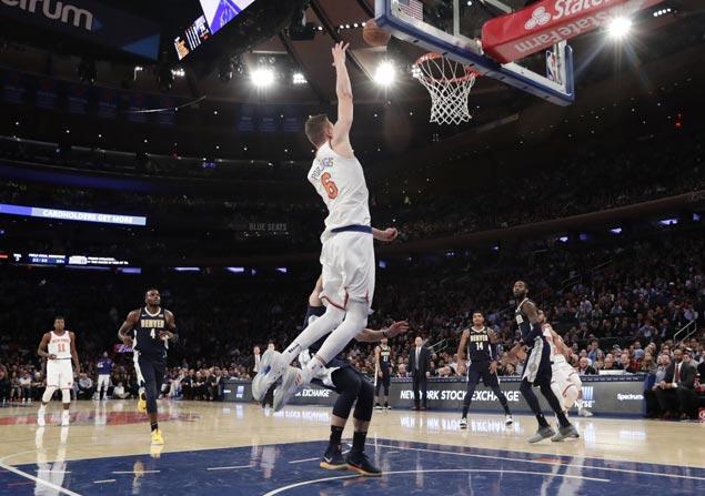 Kristaps Porzingis scores career-high 38 as Knicks hold off Nuggets