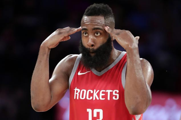 James Harden hits six of Rockets' 19 triples in rout of Knicks