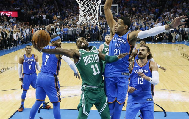 Kyrie Irving takes charge as Celtics overcome double-doubles by OKC's Big Three