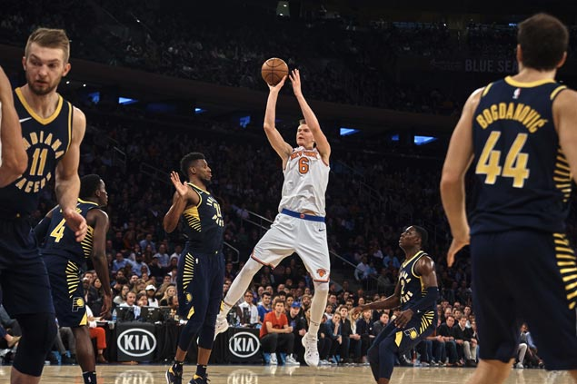 Sizzling run continues for Kristaps Porzingis with career-high 40 points as Knicks rally past Pacers
