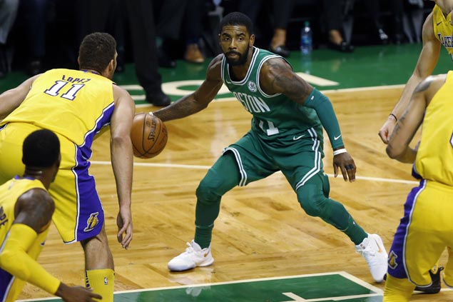 Shorthanded Celtics prove strong enough to hold off Lakers for 10th straight win