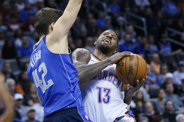 Paul George hits seven triples as Thunder sans Melo and Adams still prove too strong for Mavs