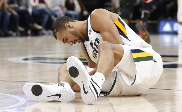 Jazz big man Rudy Gobert out four weeks after Heat guard Dion Waiters crashed into his leg