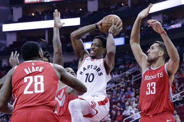 Raptors build big first half lead and hold on to end Rockets win streak at six