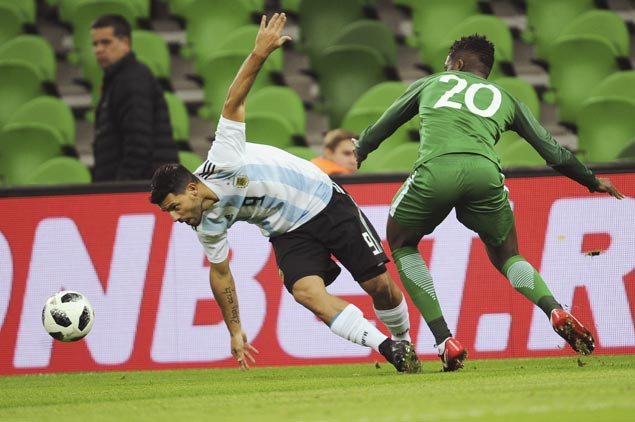 Argentina striker Sergio Aguero brought to hospital after fainting in friendly against Nigeria