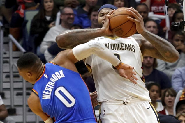 Boogie sent off for swinging elbow at Westbrook but Pelicans rally to beat Thunder