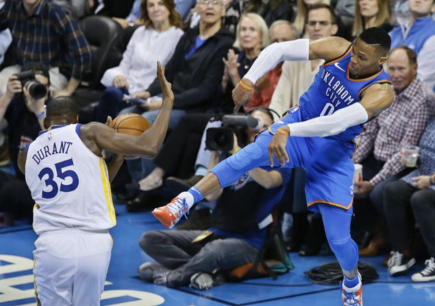 Westbrook scores season-high 34 as Thunder notch first win over Warriors since KD departure