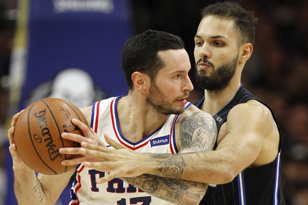 JJ Redick hits eight of Sixers' 16 triples in rout of skidding Magic