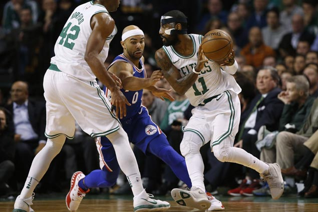 Celtics bounce back with strong finishing kick to fend off Embiid-less Sixers