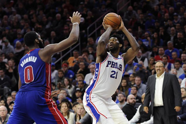 Embiid eclipses Drummond in matchup of trash-talking big men as Sixers beat Pistons