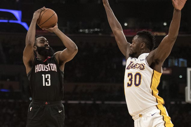 Harden, Paul lead way as Rockets roll to seventh straight win with romp over slumping Lakers