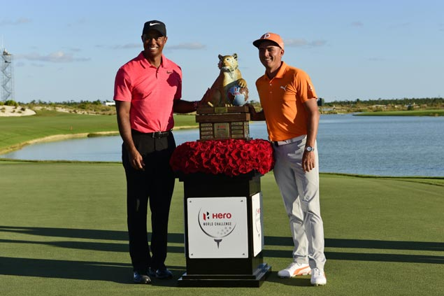 Rickie Fowler rallies to win in Bahamas as Tiger Woods ends up short in impressive return
