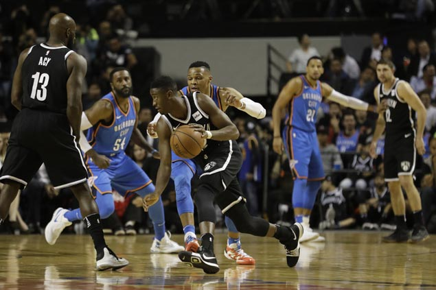 Nets claw back from 15 points down vs Thunder in Mexico as Westbrook, Anthony turn cold late