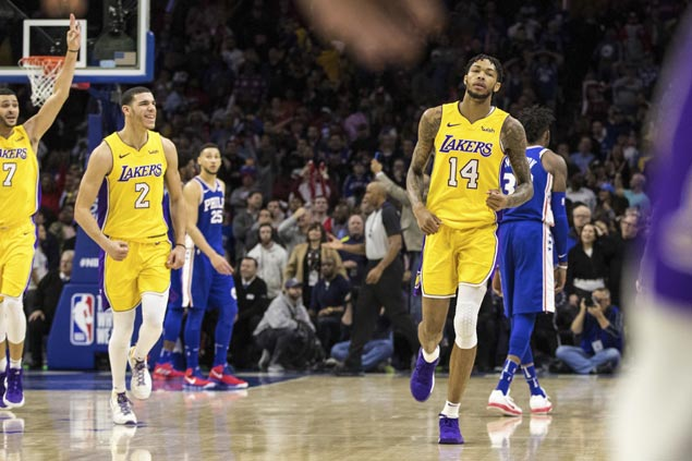 Brandon Ingram nails game-winning trey as Lakers survive fiery Sixers rally to end five-game slide