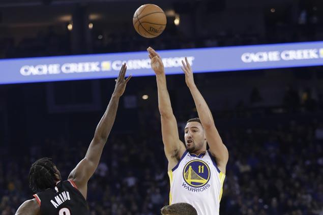 Short-handed Warriors still too strong for Blazers, overcome Damian Lillard's season high 39 points