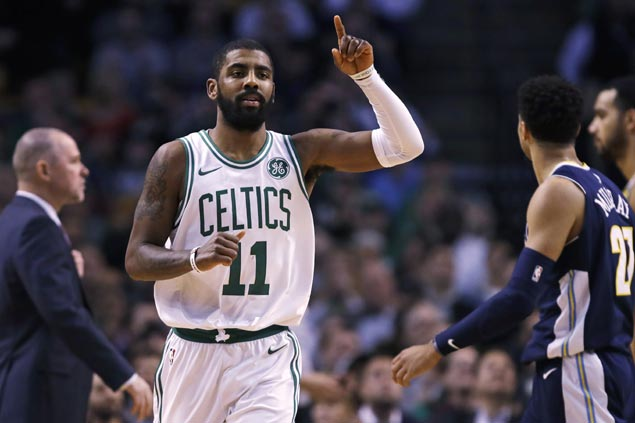 Kyrie Irving return fires up Celtics offense to prevail in rare show of firepower over Nuggets