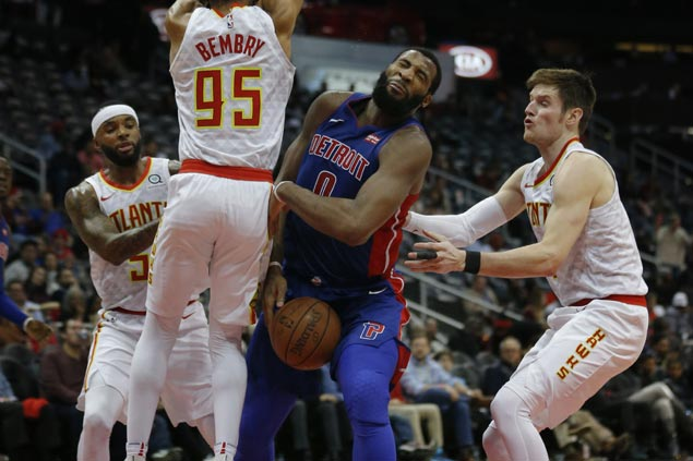 Andre Drummond flirts with triple-double as Pistons rout slumping Hawks to end 7-game slide