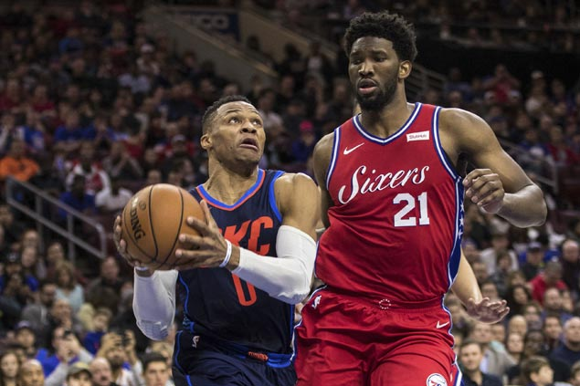 Another triple-double for Russell Westbrook but Joel Embiid takes swipe at MVP's shooting clip