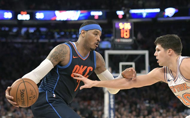Knicks hold Carmelo scoreless in second half, beat Thunder for fourth straight victory