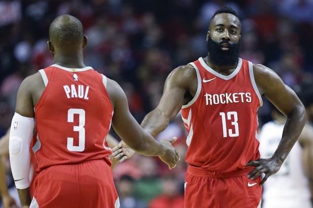 James Harden shrugs off sore knee as Rockets down Bucks to extend win run to 13