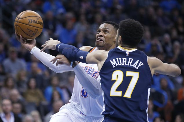 Russell Westbrook hits go ahead free throw, winds up with season-high 38 as Thunder nip Nuggets