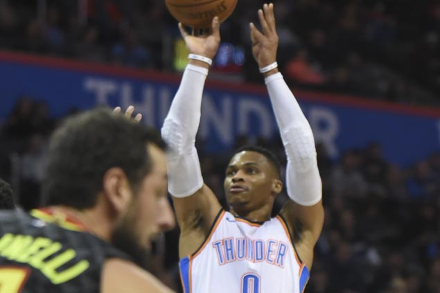 Russell Westbrook hits last-gasp triple to lift Thunder past Hawks