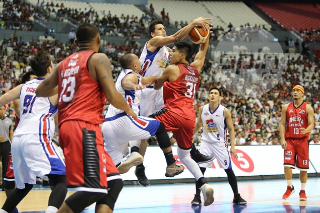 Hurting Marc Pingris concedes towering Ginebra frontline tough to overcome