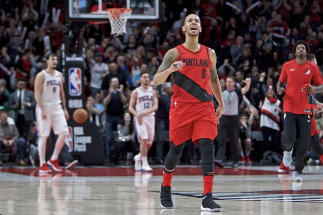 Shabazz Napier powers Lillard-less Blazers' furious fourth quarter charge to shock Sixers