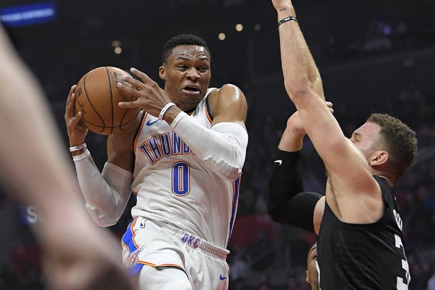 Westbrook's triple-double powers Thunder's comeback win to snap Clippers four-game surge